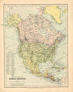 1902 MAP ~ NORTH AMERICA ~ CANADA UNITED STATES MEXICO CUBA JAMAICA