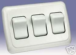 Replacement Triple Rocker Switch for RV / Camper / Trailer - White