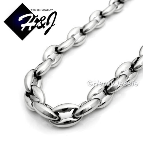 """18-40/""""MEN Stainless Steel 8mm Silver Puffed Mariner Link Chain Necklace*N147"""