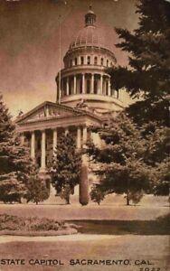 View Of State Capitol Building Sacramento California CA 1900's Sepia Postcard