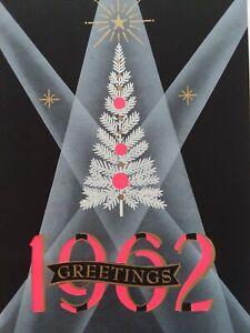 1962-Vtg-MID-CENTURY-Retro-CHRISTMAS-Tree-in-Spotlight-CHRISTMAS-GREETING-CARD