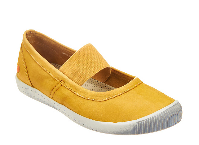 Softinos by FLY London Washed Leather Mary Janes Ion Yellow Womens EU35 US 5 New