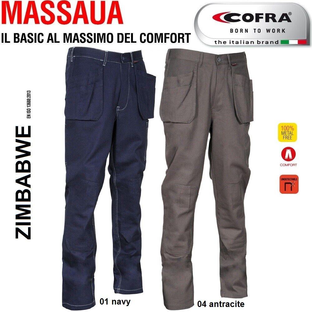 Immagine 01 - Pantaloni da lavoro COFRA modello ZIMBABWE 100% cotone 270 g/m² con ginocchiere