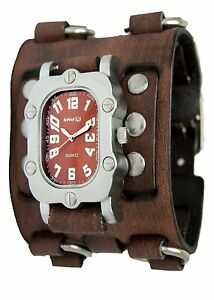 Bfwb007b Faded Brown Wide Detail Leather Cuff Band Useful Nemesis Brown Rugged Watch