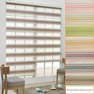 Image is loading B-&-C-Double-Roller-blinds-Zebra-shade-  sc 1 st  eBay & Bu0026C Double Roller blinds Zebra shade Home Window blind 100% Custom ...