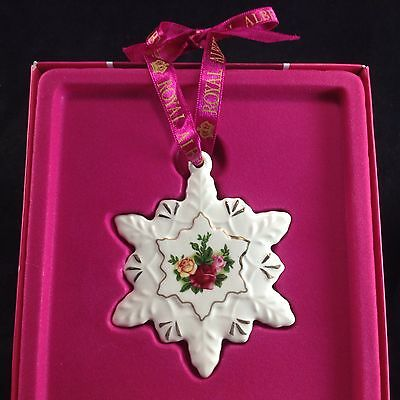 Royal Albert Royal Doulton Snowflake Christmas Ornament Old Country Roses w  Box - Royal Doulton Collection Collection On EBay!