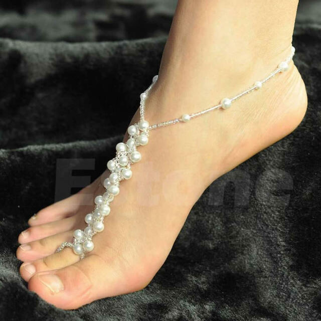 Fashion Anklets Foot Jewelry Barefoot Beach Sandals Pearl Bridal Wedding New