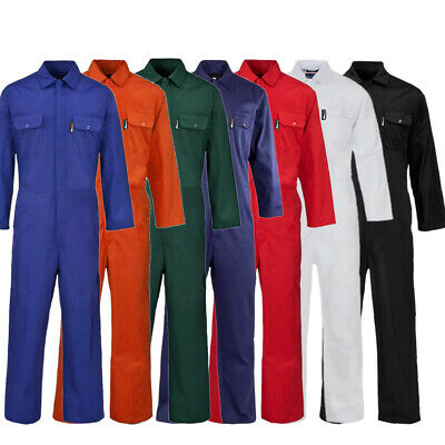 ST Mens Boilersuit Overall Coverall Workwear Stud Front Mechanic Student College