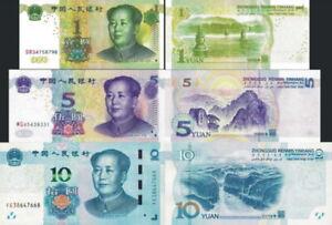 CINA-China-Lotto-3-banconote-1-5-10-yuan-MAO-FDS-UNC