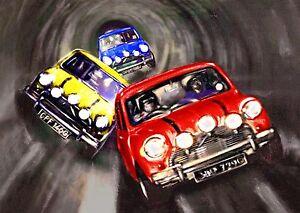 Italian Job Mini Canvas Wall Art Movie Poster Print Classic Cooper