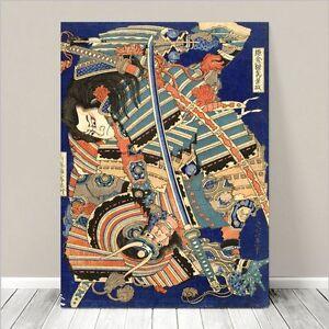 "Traditional Japanese SAMURAI Warrior Art CANVAS PRINT 8x10""~ Hokusai Sword"