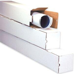 5x5x43 White Box Corrugated Square Mailing Tube Shipping Storage 25 Tubes