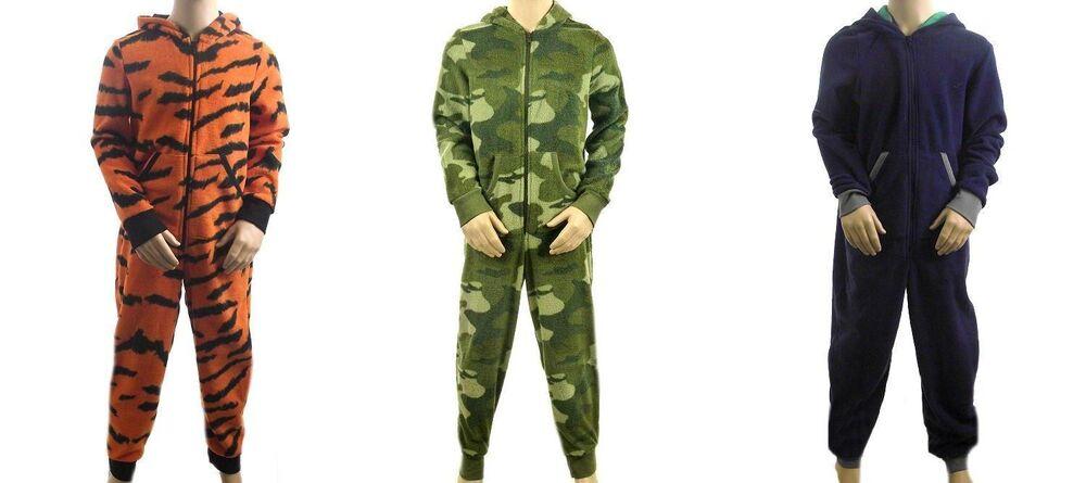 Charitable M&s Garçons Tout En Un Pj Tigre, Vert Camouflage Ou Bleu Marine Polaire Entièrement Neuf Sans étiquette 6-16 Ans Sensation Confortable