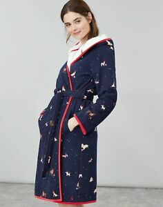 Joules Womens Ida Jersey Fleece Lined Dressing Gown - XMAS DOGS