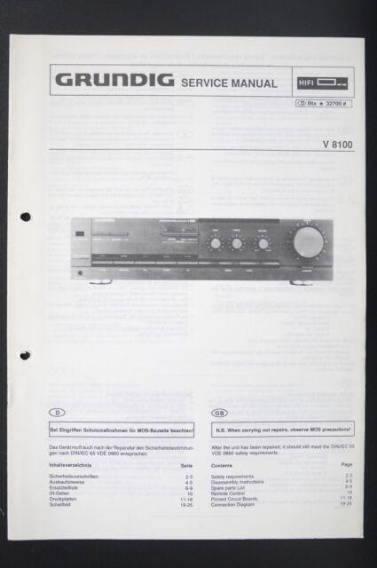 Grundig V 8100 Original Stereo Amplifier Service Manual
