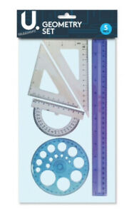 5-Pce-Geometry-Stationary-Back-To-School-Home-Work-Ruler-Set-Square-Protractor