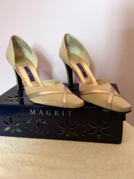 MAGRIT PALE Gold SATIN & LEATHER TRIM HEELS HEELS HEELS Größe 3.5 36 WORN LIGHTLY ONCE 069326