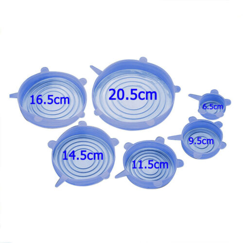 6PCS Stretch Reuseable Silicone Bowl Food Storage Wraps Cover Seal Fresh Lids