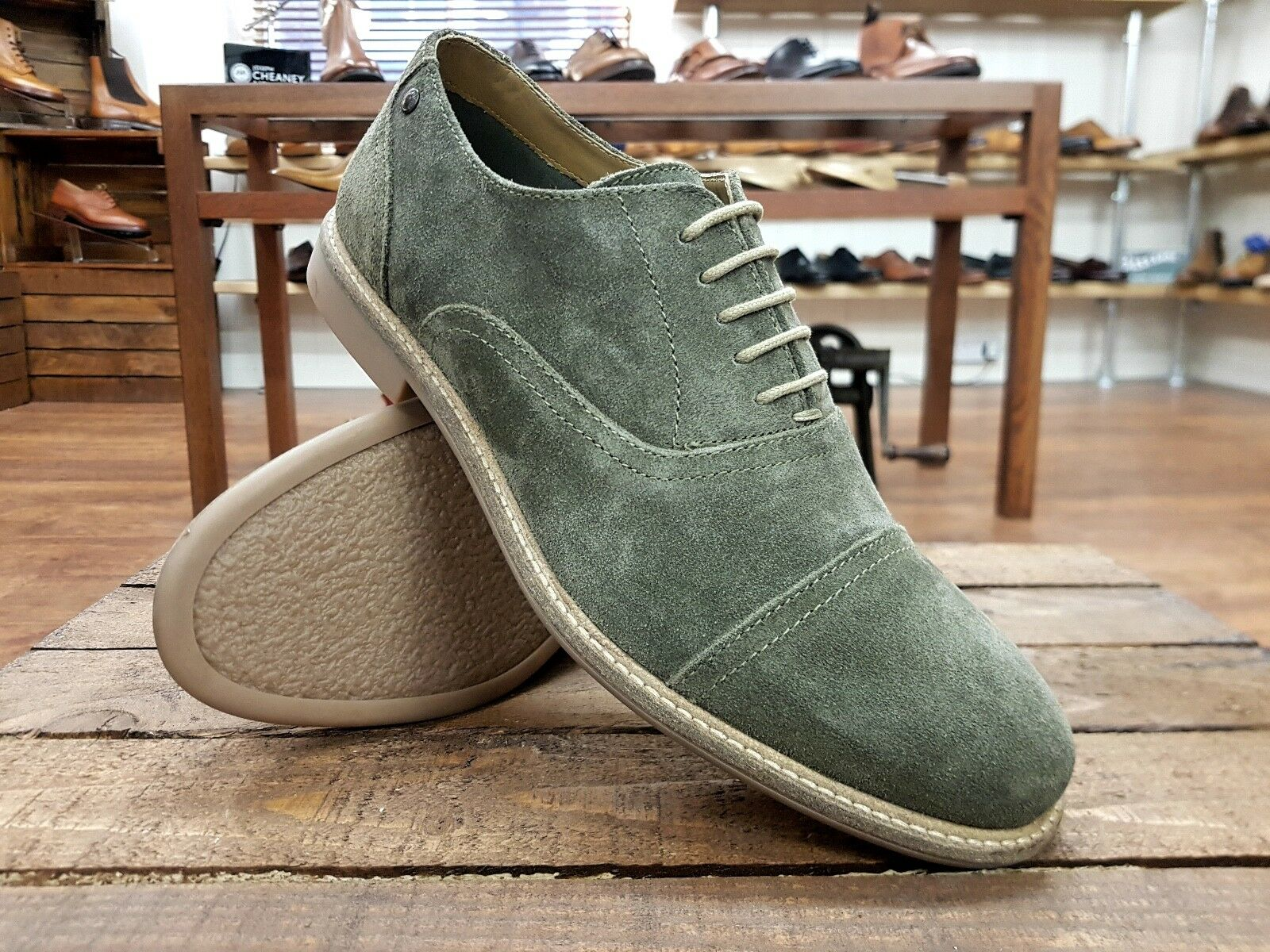 Base London    Marston    Mens Olive Suede shoes    NEW
