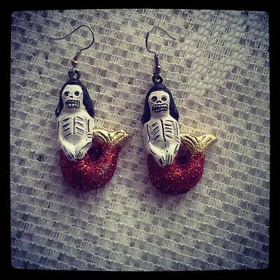 MEXICAN DAY OF THE DEAD MERMAID EARRINGS / HANDCRAFTED / DIA DE LOS MUERTOS