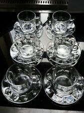 VINTAGE 6 ARCOROC THUMBPRINT GLASS CUPS AND SAUCERS FRANCE RETRO 60S 70S KITSCH