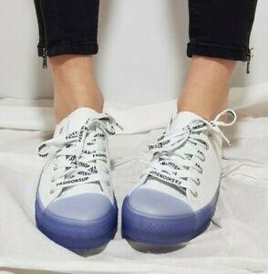 Nueva-para-Dama-Zapatos-Cordones-Cana-Baja-Lona-Blanca-con-Azul-Suela-de-Goma