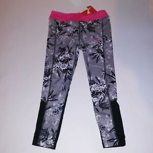 79c79364df6a PUMA Girls Leggings Pants Active Wear Pink Black White Floral NEW