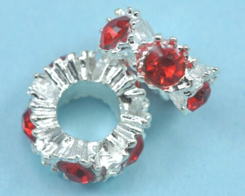 10x Plata Plateado Strass rojo cristal espaciadores granos Fit pulsera con dijes