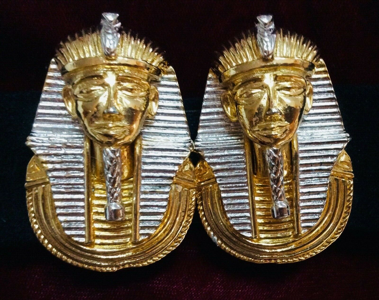 Gay Boyer Rare signed Vtg.Pair King Tut Luxe Silver & Gold-tone buckles & belt
