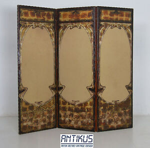 original jugendstil paravent raumteiler spanische wand art nouveau antik leder ebay. Black Bedroom Furniture Sets. Home Design Ideas