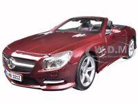 2012 Mercedes Sl 500 Convertible Burgundy 1/18 Diecast Model By Maisto 31196
