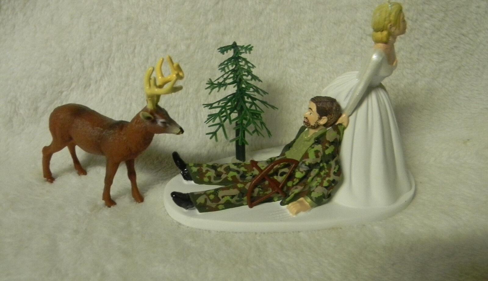 Mariage Camo plouc du Deer Hunting Bow Hunter marié avec barbe cake topper