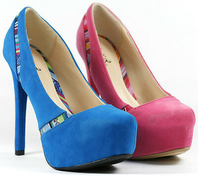 Qupid Womens Marquise06 Velvet Almond Toe Platform Stiletto Pump