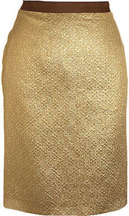 LANVIN gold Cloque Skirt SZ 42 = US 6 - NWT RT 1,120.00