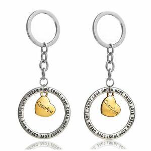 Details about 2pcs Grandpa Grandma Family Gift Gold Love Heart Round Trust  Love Hope Dream Cha