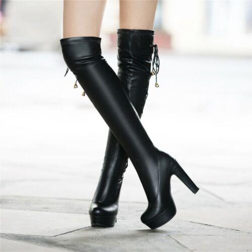 2 Farbe Damen Blockabsatz Schlupf Stretch Slouch Overknee Stiefel Gothic 34-50