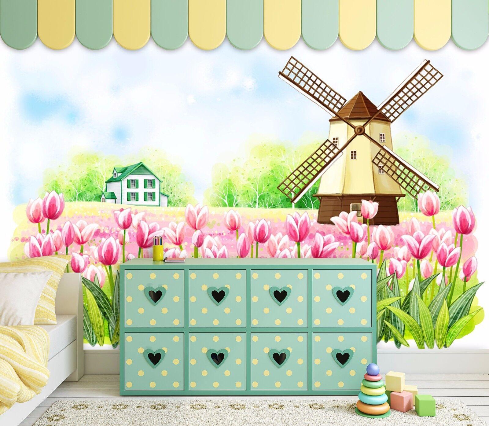 3D Windmill Garden 78 Wall Paper Murals Wall Print Wall Wallpaper Mural AU Kyra