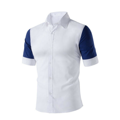 HOT Men/'s Short Sleeved Casual Shirts Stitching Color Button Down Dress Shirt