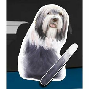 Bearded Collie Dog Rear Car Window Sticker + Wagging Tail To Fit On Wiper Arm