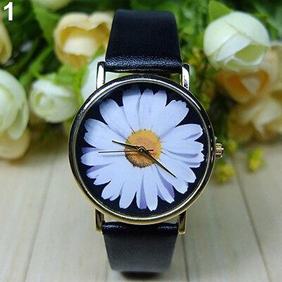 Women's Lady's Daisy Wrist Watch Quartz Analog Faux Leather Flower Gorgeous Gift