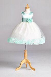 NEW-Ivory-Flower-Girl-Bridesmaids-Summer-Easter-Top-Solid-Mint-Wedding-Dress-22