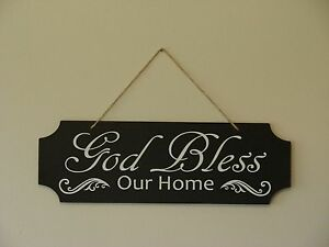God Bless Our Home Wall Hanging Sign Plaque Saying Quote