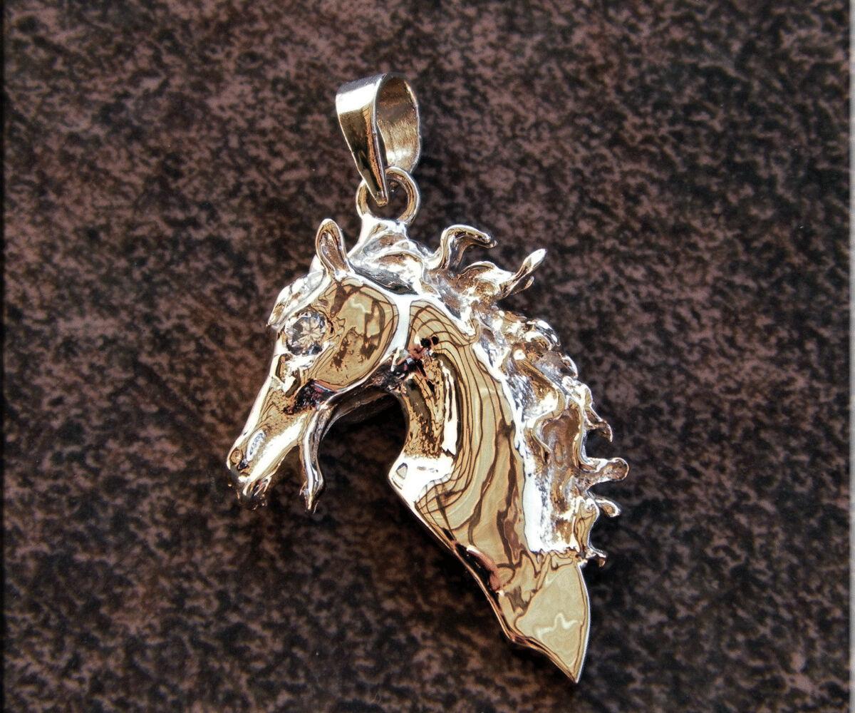 Sólido oro De 14k Ecuestre Caballo Cabeza Colgante Excelente Vs1 Color H Diamante