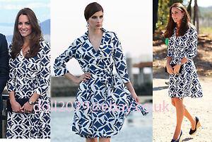 Blue-White-Pattern-Print-Wrap-Shirt-Dress-UK-Size-8-10-12-14-16-Skater-Cocktail