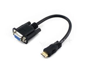 MINI-HDMI-Maschio-a-VGA-Cavo-VGA-Donna-Connettore-Audio-Donna-di-interfaccia-di-output