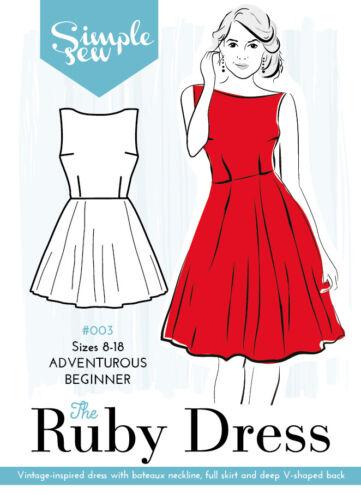 Da Donna AVVENTUROSO principianti IL RUBINO Abito UK 8-18 Donna Sewing Pattern
