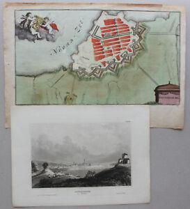 kolorierter-Plan-amp-Stahlstichansicht-Gothenburg-um-1650-amp-1830-Schweden-sf
