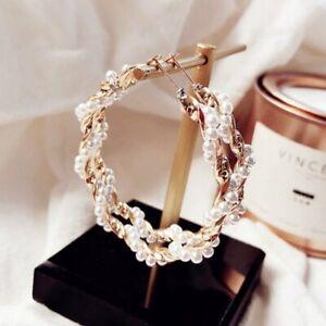 Fashion-Geometric-Classic-Big-Circle-Pearl-Ear-Hoop-Earrings-Korean-Jewelry-Gift