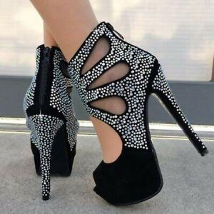 Womens-Sexy-High-Heels-Rhinestone-Peep-Toe-Platform-Shoes-Zip-Party-Nightclub