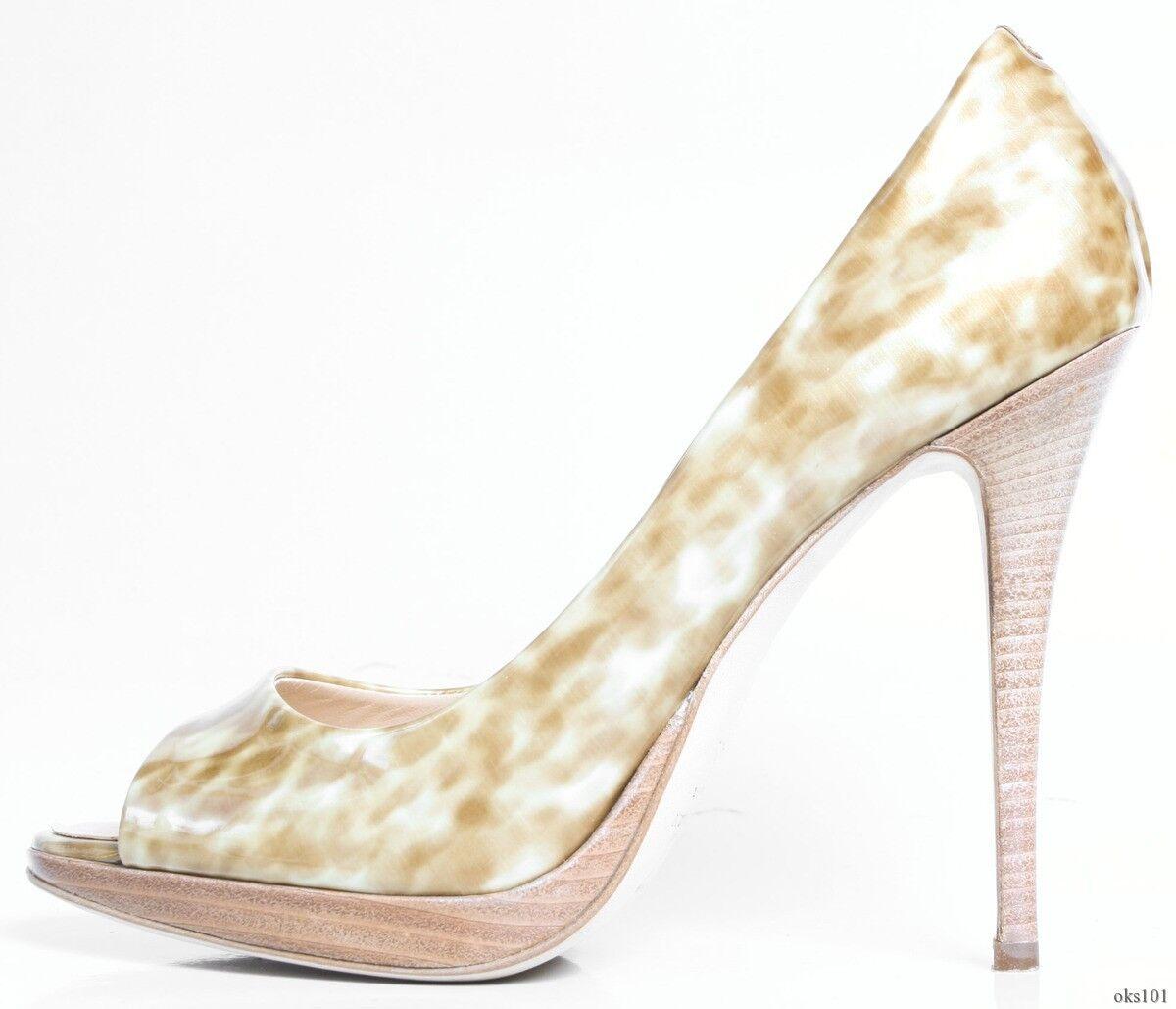 New  695 Giuseppe ZANOTTI tortoise patent open-toe platform shoes 40.5 10.5 SEXY